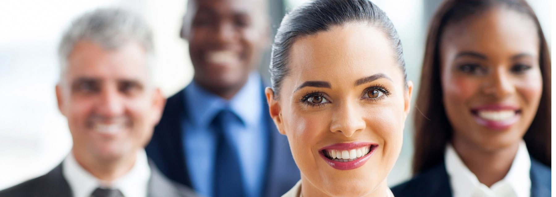 close up of business professionals smiling